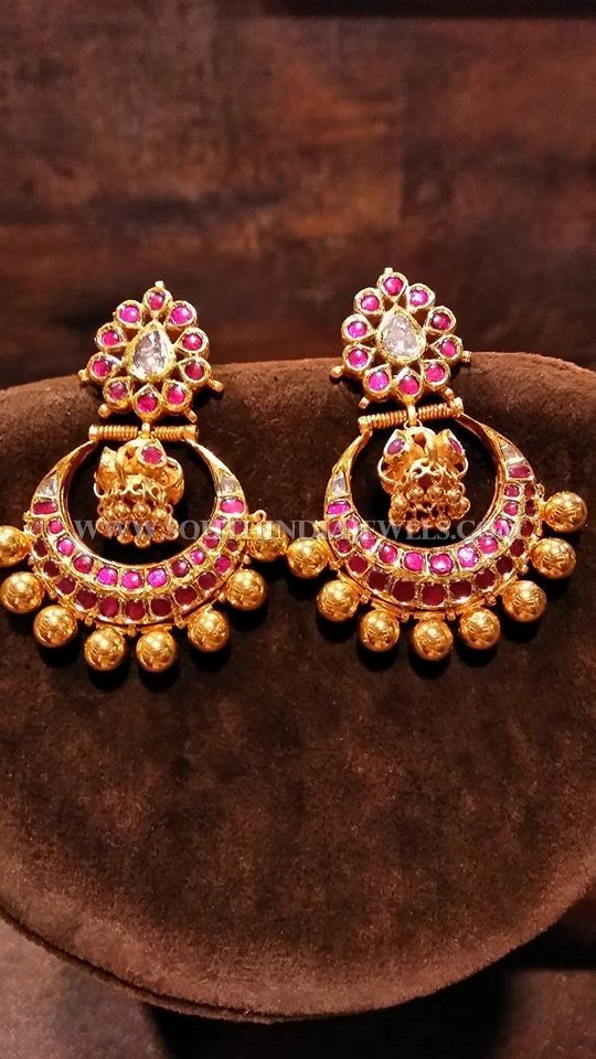 Gold Kemp Ruby Chandbali Designs, Kemp Ruby Chandbali Earrings Models.