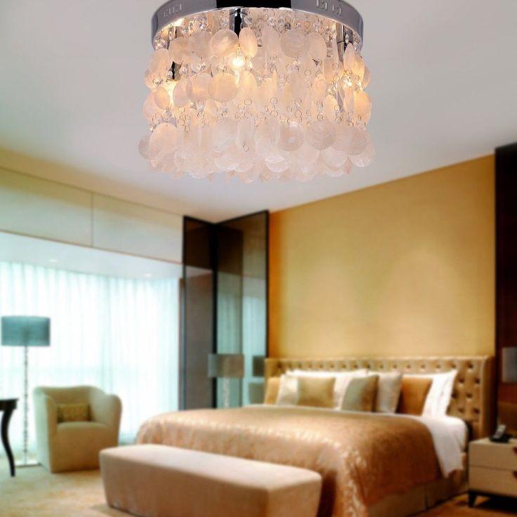 LightInTheBoxR Modern White Shell Crystal Home Ceiling Light Fixture Flush Mount Pendant Chandeliers Lighting For Bedroom Living Room