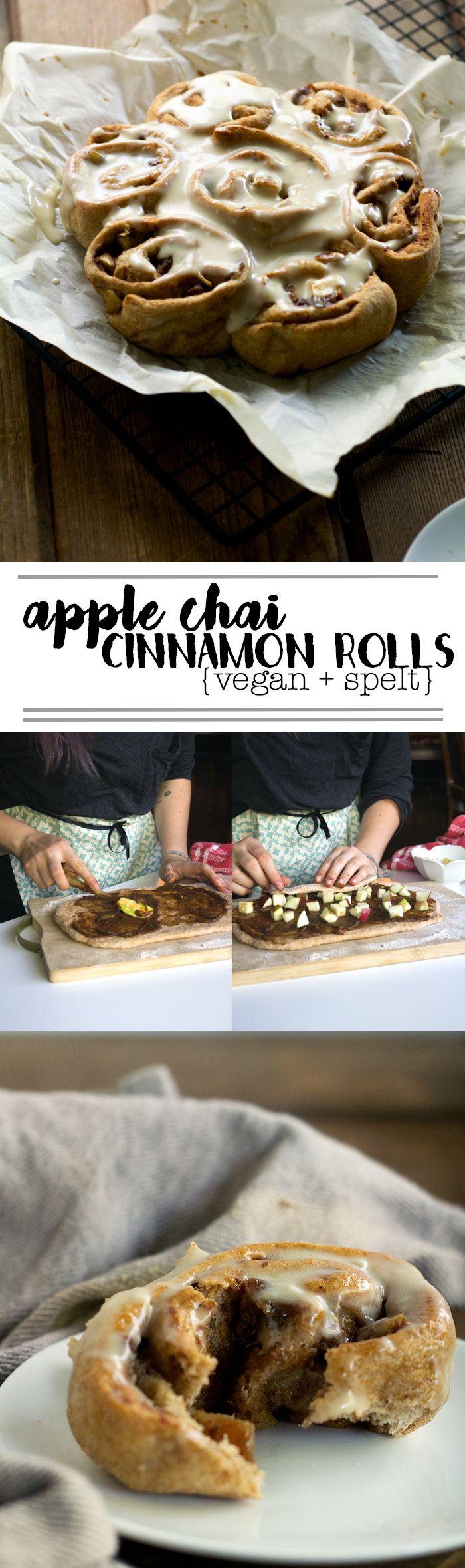 vegan apple chai cinnamon rolls made with spelt flour   love me, feed me