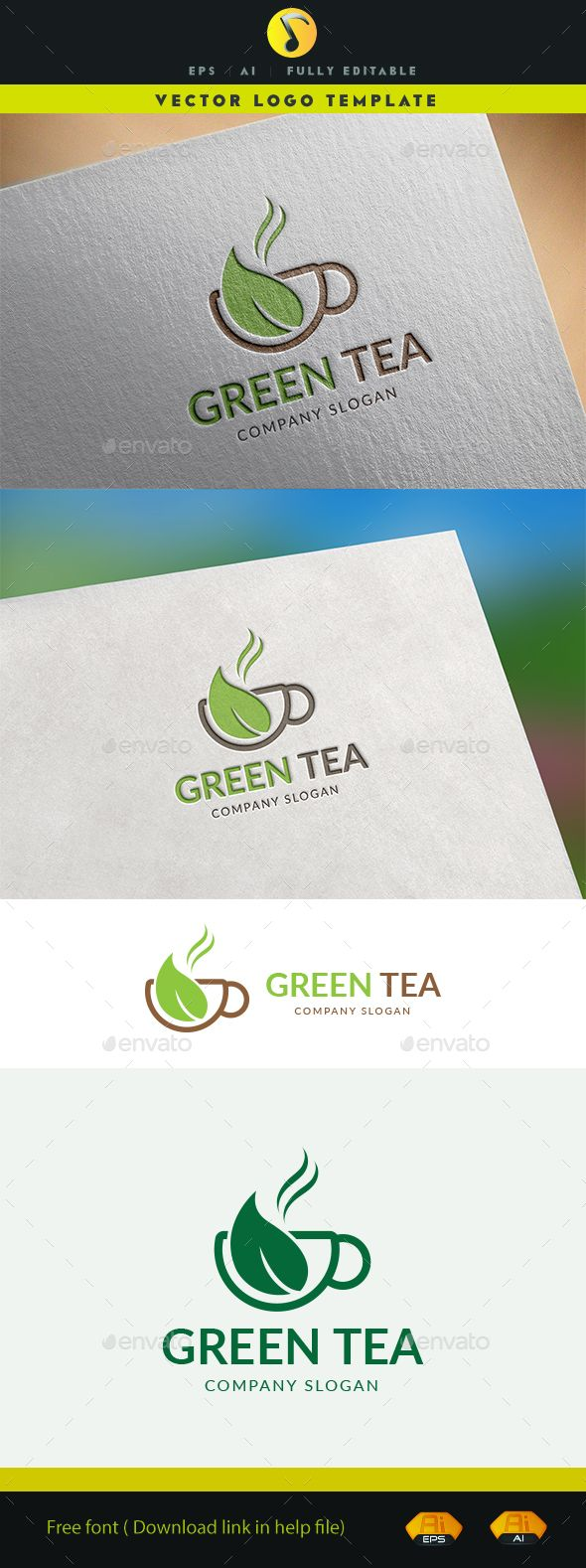 Green Tea Logo — Vector EPS #object #tea leaves • Available here → https://graphicriver.net/item/green-tea-logo/15874033?ref=pxcr