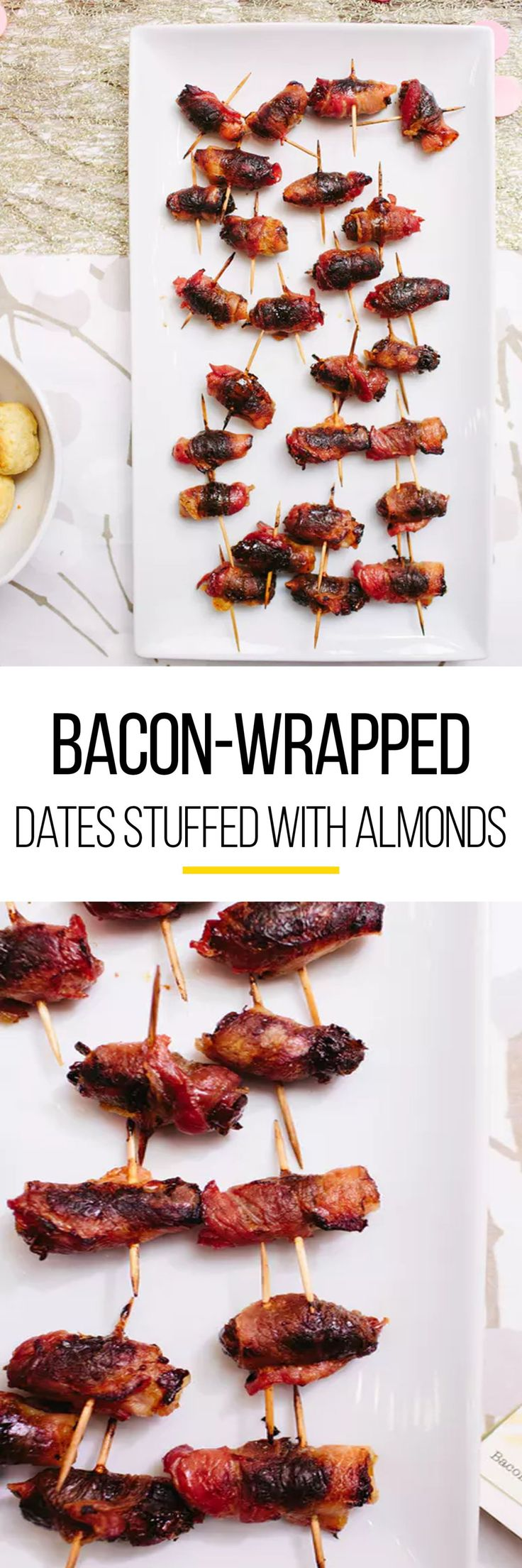 Bacon wrapped in anything is pretty much a natural crowd pleaser at a holiday party. During your Christmas or Thanksgiving celebrations make these bacon-wrapped dates stuffed with almonds. To make this easy party food, you'll need Marcona almonds, dried, pitted dates, and  thick-cut bacon. 3 ingredients is sometimes all it takes to make a great party appetizer.