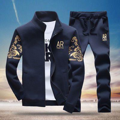 Details about 2PCS Men Casual Tracksuit Sports Suit Jogging Athletic Jacket Coat + Long Pants