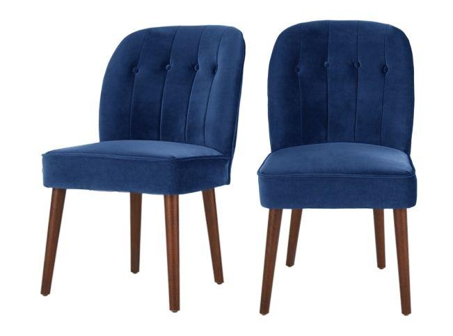 Set of 2 Margot Dining Chairs, Electric Blue Velvet