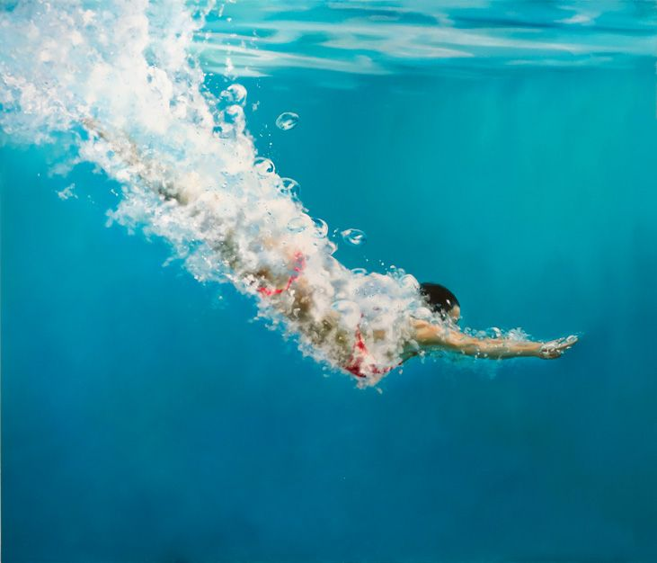 "Gallery Henoch - Eric Zener - Blissful Descent, Oil on Canvas, 60"" x 70"""