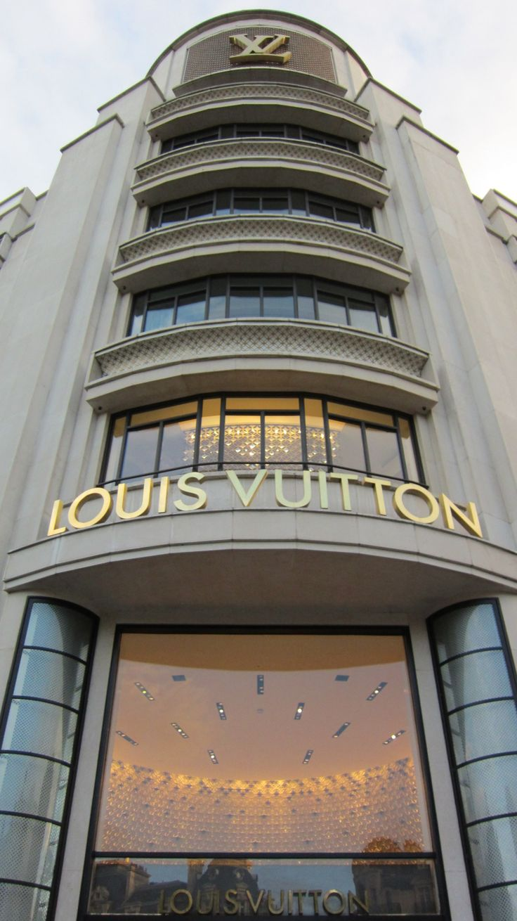 Louis Vuitton store in Paris... The line is always around the corner but security is nice.