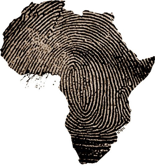finger print Africa tattoo - clever idea.