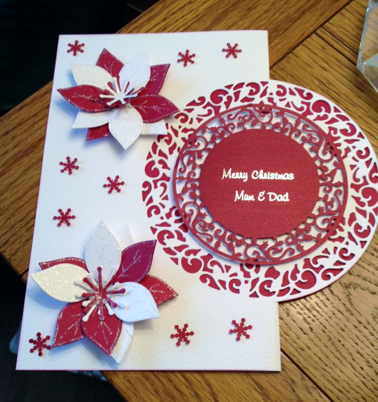 Made using Tonic Holly Wreath Die and Tonic poinsettia. I made the flower using the small petals. Any sentiment can be added to centre of card £1.00