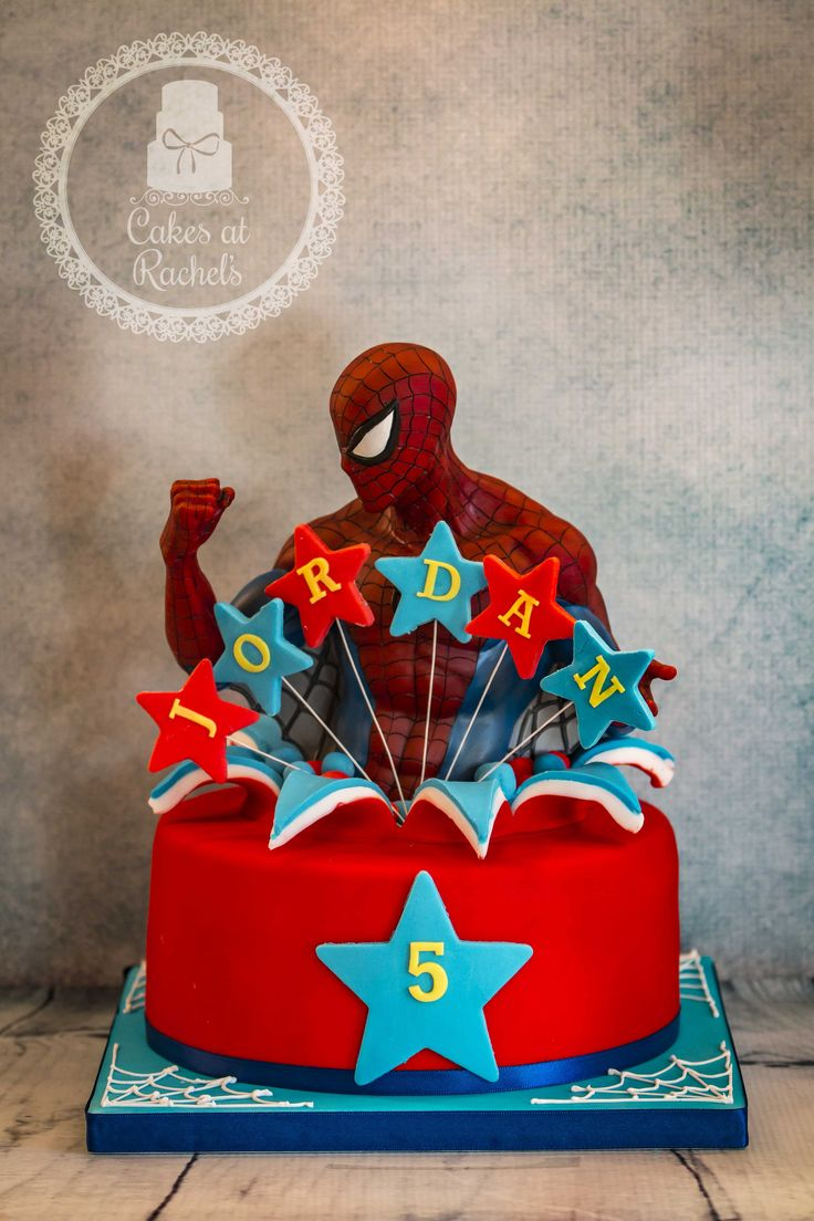 Spidey themed birthday cake (Spiderman customer provided) Follow me at www.facebook.com/Cakes.at.Rachels for more cakes!