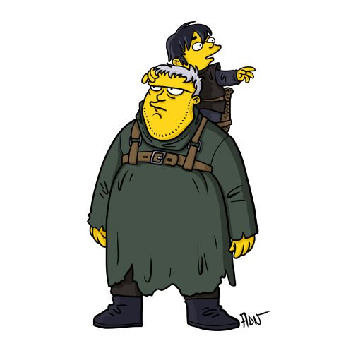 "Hodor and Bran Stark from ""Game Of Thrones"" / Simpsonized by ADN"