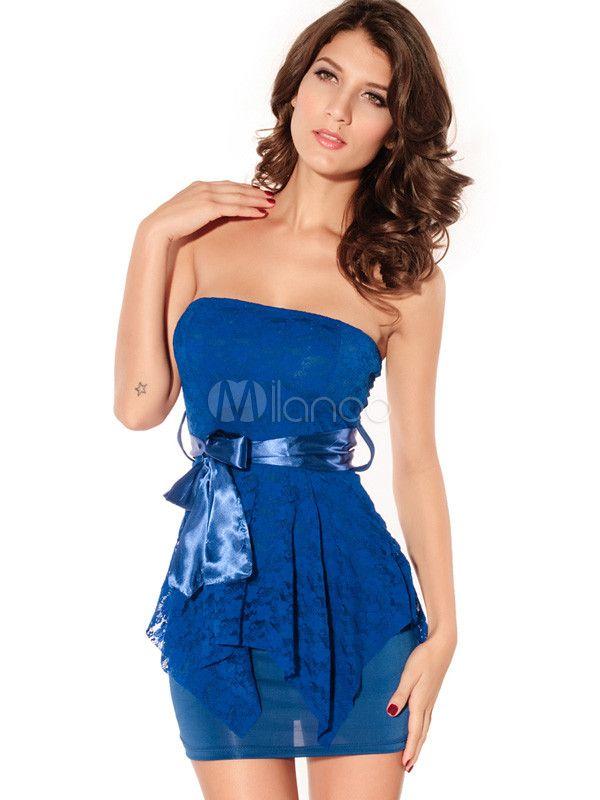 [14,41€] Robe de club fabuleuse bleue avec dentelle bustier multicouche