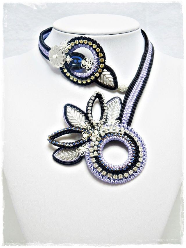 紫&ダークブラウンソウタシエネックレス 「送料無料」 purple&dark brown soutache necklace  Deep