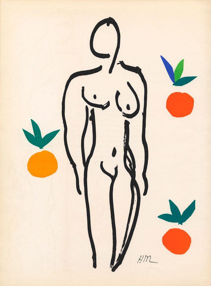 Nu aux oranges, 1952-53. Gouache decoupee and india ink. Henri Matisse.