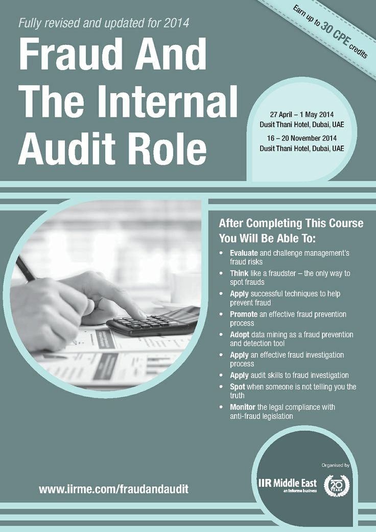 the auditor and fraud The typical organization loses 5% of its annual revenues to fraud for an   preparation for internal auditor and fraud examiner certifications.