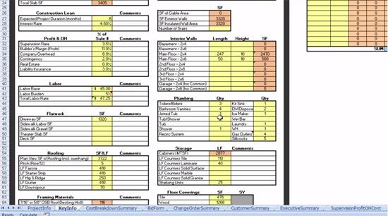 Estimatorpro Take Off Sheet Construction Estimating Software Construction Cost Residential Construction
