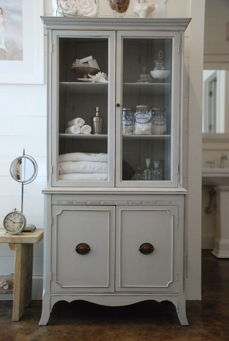 Beautiful Painted Antique Hutch