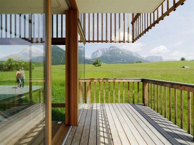 Holz Balkon belag ideen Geländer Holzboden-verlegen tipps
