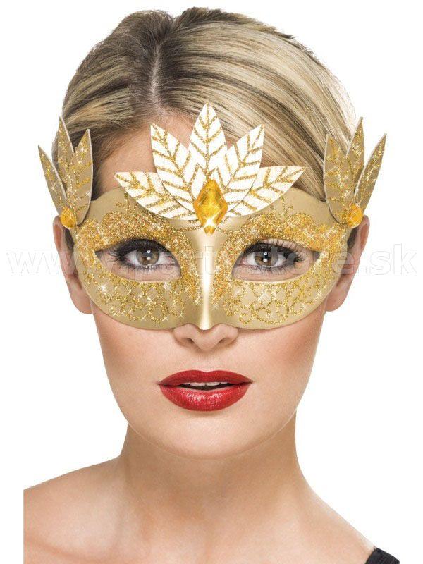 """Maska - škraboška """" Roman Style """" zlatá"""