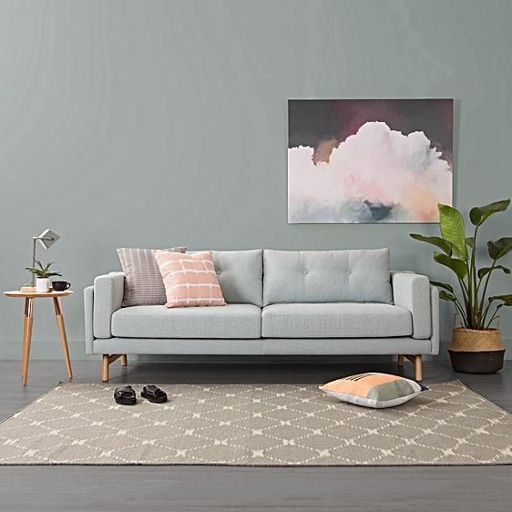 Lydon Blue Grey 2 Seater Sofa by Zanui