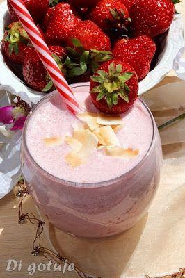 Di gotuje: Koktajl truskawkowy na mleczku kokosowym