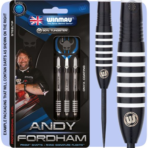 Winmau Andy Fordham Darts - Steel Tip Tungsten - The Viking - Onyx - Ringed - 23g - Black - http://www.dartscorner.co.uk/product_info.php?products_id=19424