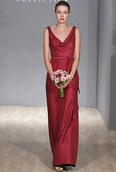 Brides: Winter Bridesmaid Dresses. No getting around it: Red is perfect for a holiday wedding. This cowl-neck Jenny Yoo style nails the look.