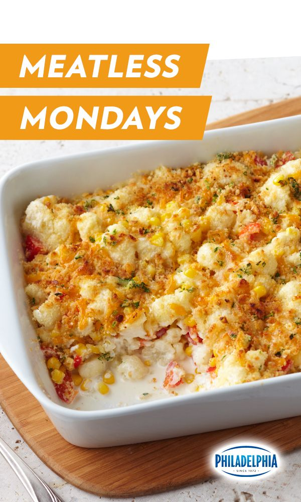Got a case of the Mondays? This amazingly easy and delicious Garlic Cauliflower Bake is standing by, ready to help. Made with melted parmesan and Philadelphia Cream Cheese, this vegetarian veggie bake is hearty enough to stand alone as a main dish on Meatless Monday or sit alongside your favorite meat any ol' day of the week.
