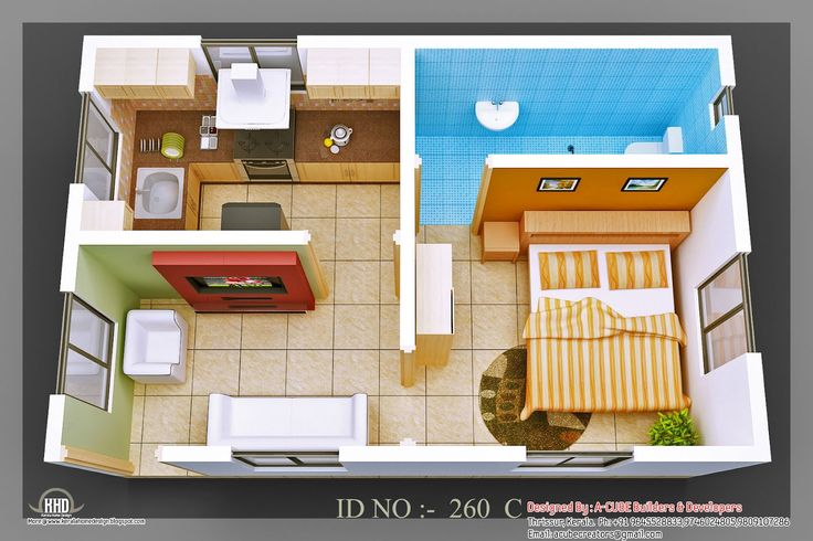 3d Single Story House Plans 3D isometric views of small house ...