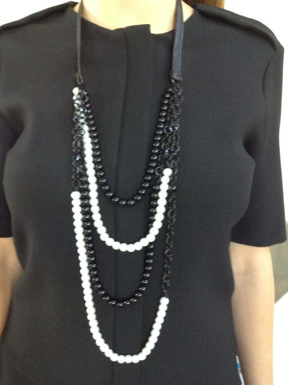Elegant Necklace of Chunky Black/White Glass Pearls by alsoljewels