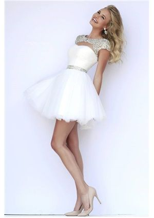 2015 Shining A-line/Princess Cap Straps Short/Mini Homecoming Dress with Beading - Perfecttion.com for mobile