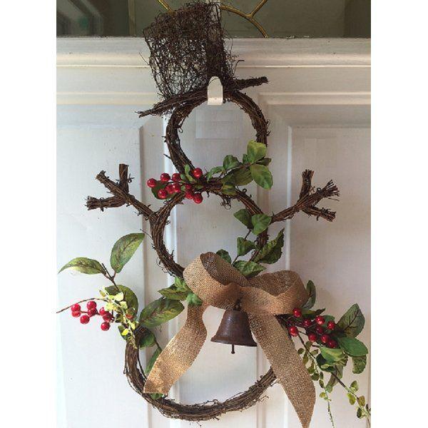 Grapevine Snowman Door Wreath Christmas Door Decorations Christmas Wreaths Christmas Decorations
