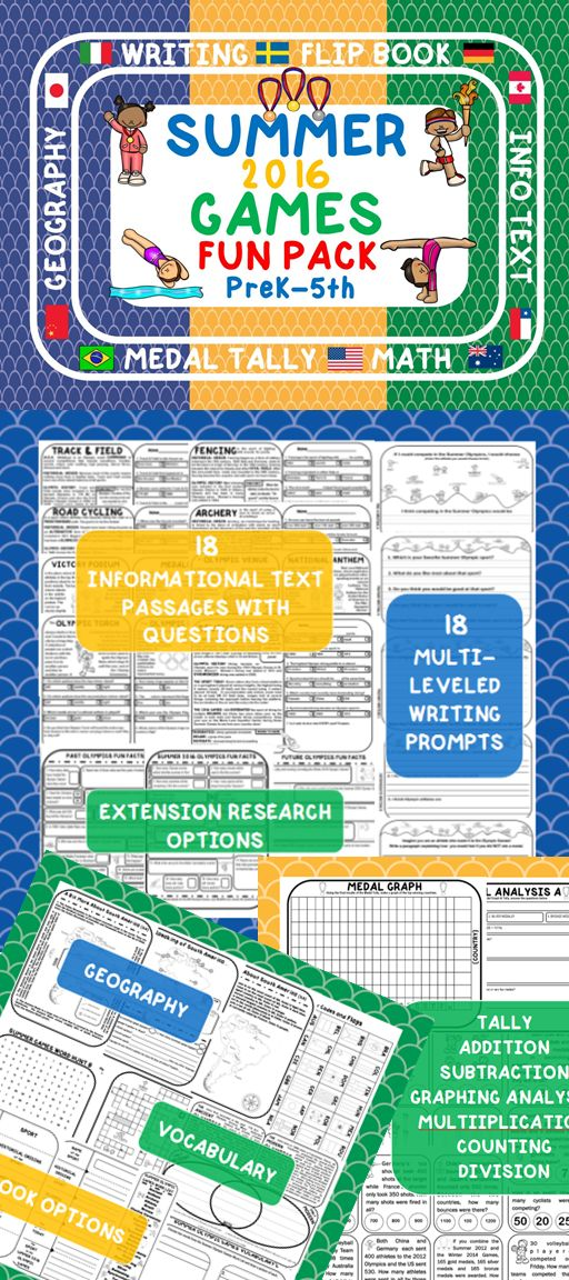 THIS 100 PAGE SUMMER OLYMPICS FUN PACK INCLUDES: {18} Informational Texts and Comprehension Questions {1} Venn Diagram  {14} Writing Prompts  {3} Vocab Studies                                         {4} Crossword and Word Searches {18} Coloring Pages {9} Math Pages {1} Medal Result Analysis  {1} Medal Tally {1} Medal Graph {3} Medal Result Analyses  {6} Mapping Exercises {1} Flip Book  {2} Beginners Books {3} Research Pages