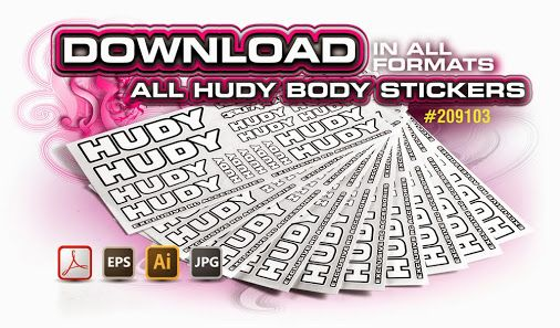 Download HUDY stickers Good news for all HUDY customers. Now you can donwload and print on your own all HUDY body stickers. The ZIP file includes vector formats of all HUDY body stickers.