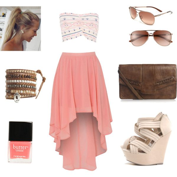 Pink high low skirt & bandeau