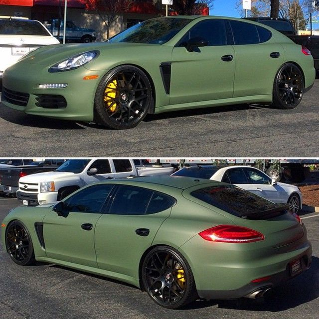 Matte Green Wrapped Porsche Panamera Follow Luxlife