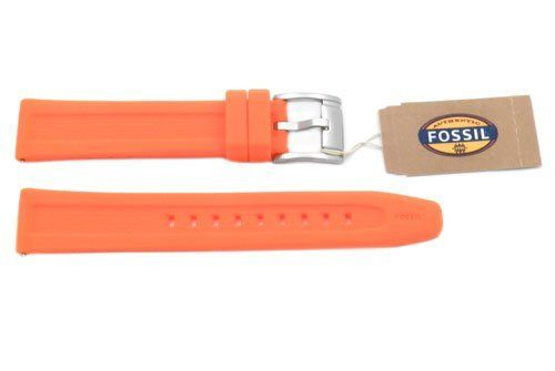 Fossil Orange Silicone Logo Imprinted 18mm Watch Strap   Total Watch Repair