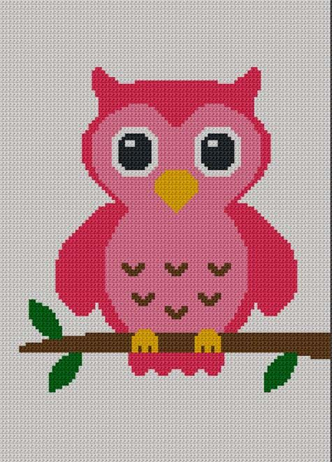 Easy Too Cute Pink Baby Owl Crochet Knit Cross Stitch Afghan Pattern Graph. $3.80, via Etsy.