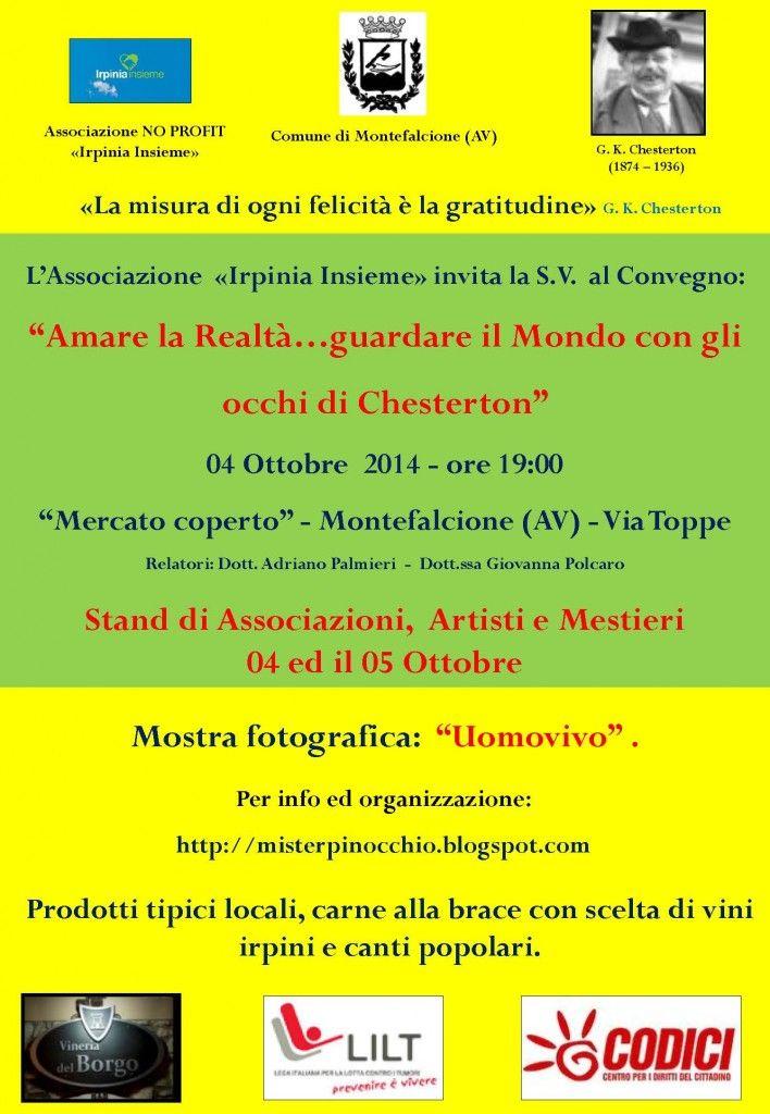 La due giorni di studio a Montefalcione dedicata allo scrittore inglese Gilberth Keith Chesterton. L'evento previsto per il 4 e 5 ottobre