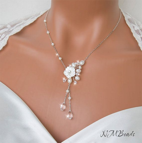 Freshwater Pearl and Crystal Wedding Necklace, Flowering Branch, Sterling Silver, Wire Wrapped Wedding Jewelry, Swarovski Jewelry on Etsy, $70.00