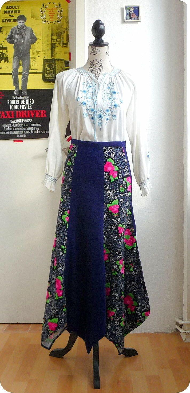 Vintage Maxi Rock 60er 70er Hippie Gypsy Boho XS-S Skirt Blumen Nicky Zipfelrock in Kleidung & Accessoires, Vintage-Mode, Vintage-Mode für Damen | eBay