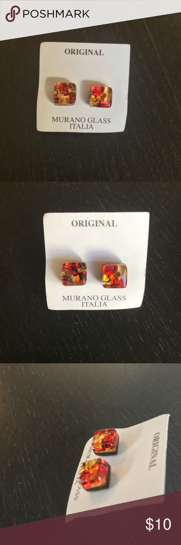 """Murano Glass Stud Earrings These Murano Glass Stud Earrings were purchased from a souvenir shop in Venice near the Rialto Bridge last fall. These square-shaped stud earrings are a mix of red, gold, and black. Lightweight and 1/4"""". Beautiful and unique pair of earrings. Jewelry Earrings"""