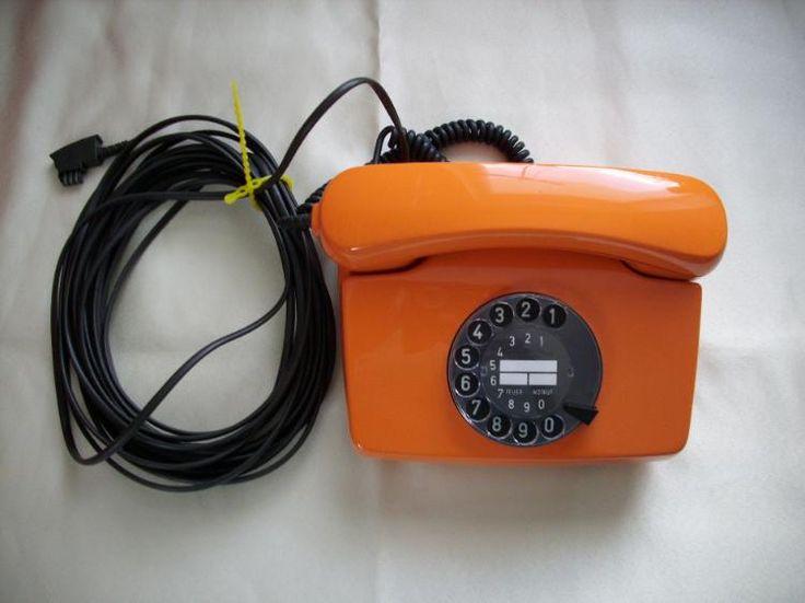 335) Wählscheibentelefon FeTAp 791-1 in orange, ORIGINAL, kein Nachbau, TOP Zustand, 10m Kabel + TAE-Stecker, Preis 60€