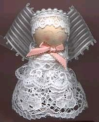 Make a little ribbon and lace angel in this free craft project. You'll need a small doll pin, a wooden ball, and scraps of ribbon and lace.