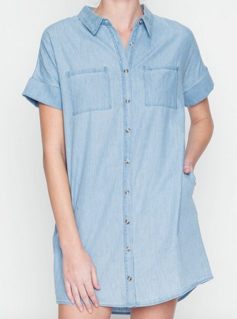Chambray button down shirt dress