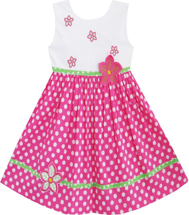 Sunny Fashion Girls Dress Pink Dot Flower Embroidered Sundress Size 2-6 #SunnyFashion
