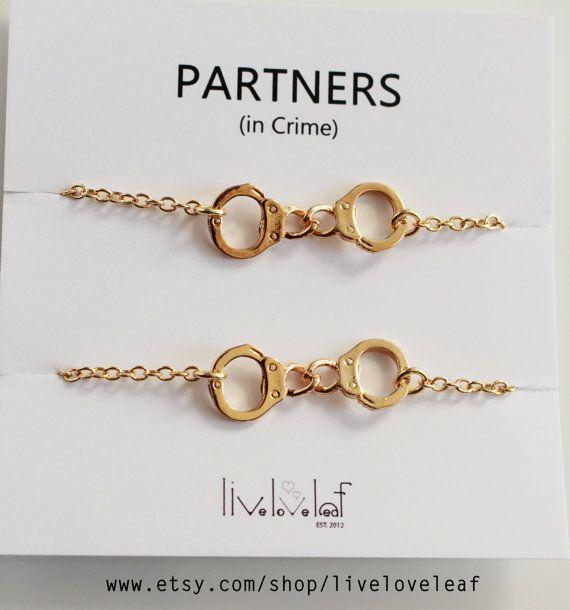 Gold Handcuffs bracelets Best friends aka Partners in crime Bracelets - gold tone Handcuffs handcuff charm bracelet, BFF jewelry Christmas