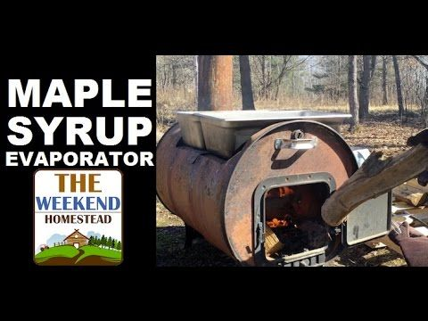 WOOD FIRED Maple Syrup Evaporator (pt 2) ~ DIY Boiling Down Sap - YouTube