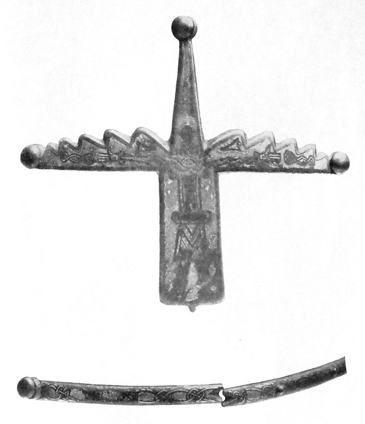 The decorative silver plate from the nasal of a helmet said to have belonged to St. Wenceslaus I, Duke of Bohemia. Carved on it is a rather abstract looking image of the crucified Christ that was probably made in Gotland in the late 10th century.
