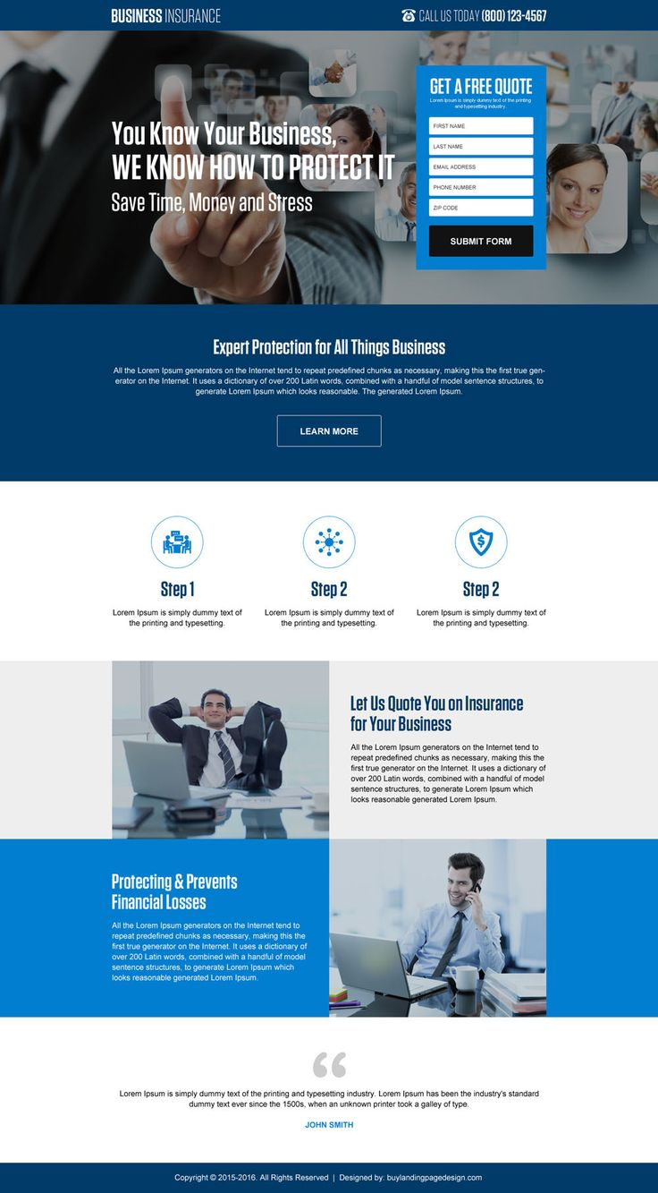 responsive small business insurance quality lead gen landing page