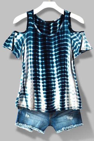 Tie Dye Cold Shoulder Top