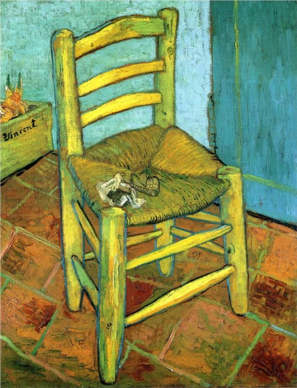 Van Gogh's Chair (with pipe and tobacco)    -  Vincent van Gogh    - 1889    Place of Creation: Arles  .............#GT